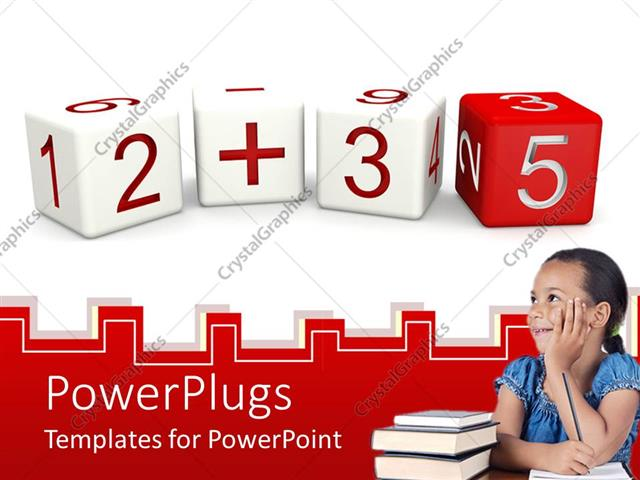 PowerPoint Template Displaying a Pretty Female Pupil with a Stack of Books