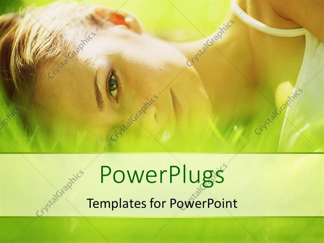 PowerPoint Template Displaying a Pretty Lady Lying Down on a Grass Field