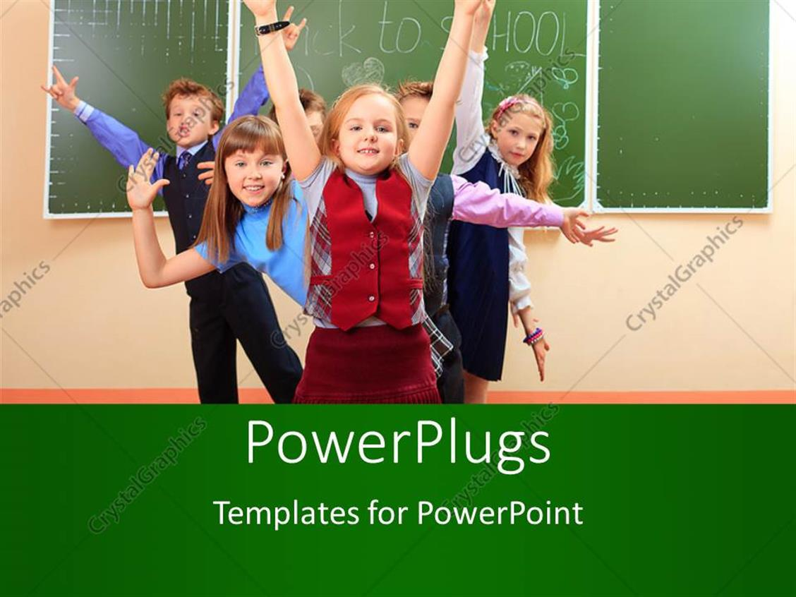 PowerPoint Template Displaying Pretty little Kids Celebrating in Classroom with Chalkboard Behind