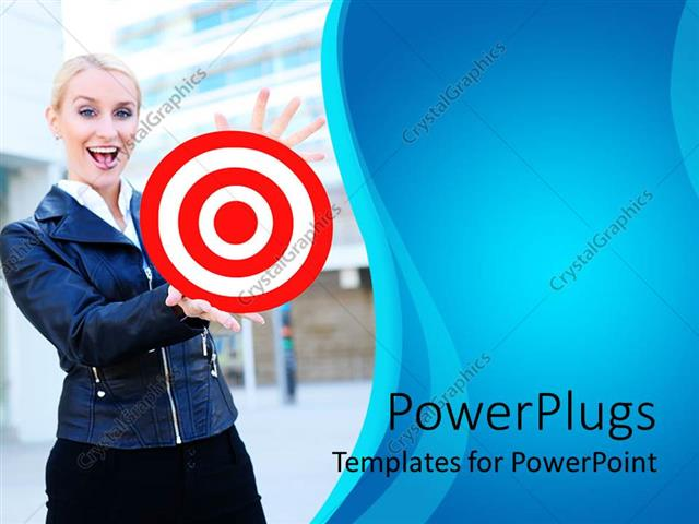 Powerpoint template a pretty smiling lady holding out a red and powerpoint template displaying a pretty smiling lady holding out a red and white target toneelgroepblik Image collections
