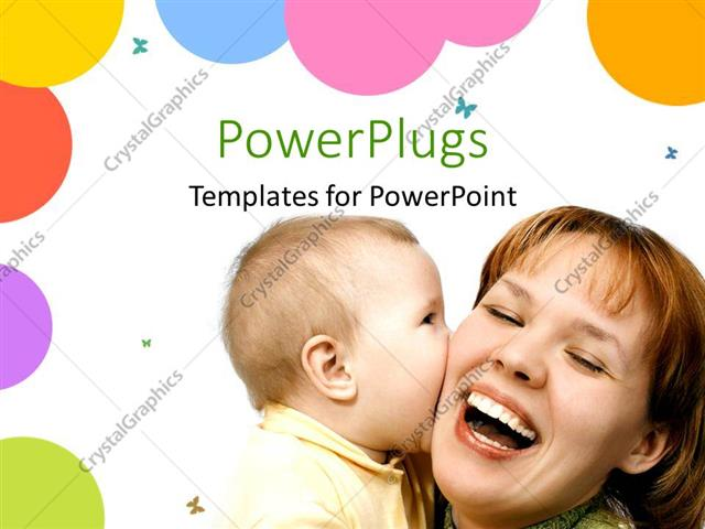 PowerPoint Template Displaying Pretty Woman and her Baby Playing on a White Background
