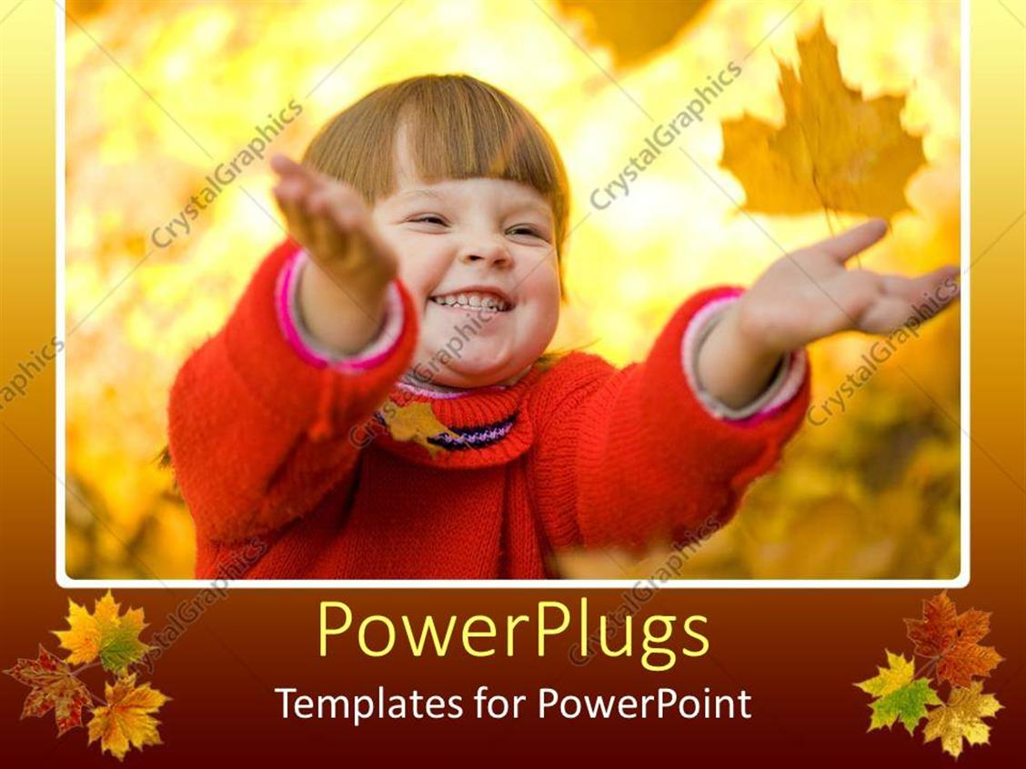 PowerPoint Template Displaying Pretty Young Baby Smiling and Holding Out Hands on Yellow Leaves