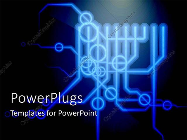 powerpoint template displaying printed circuit board schematic diagram with  connections points on black background