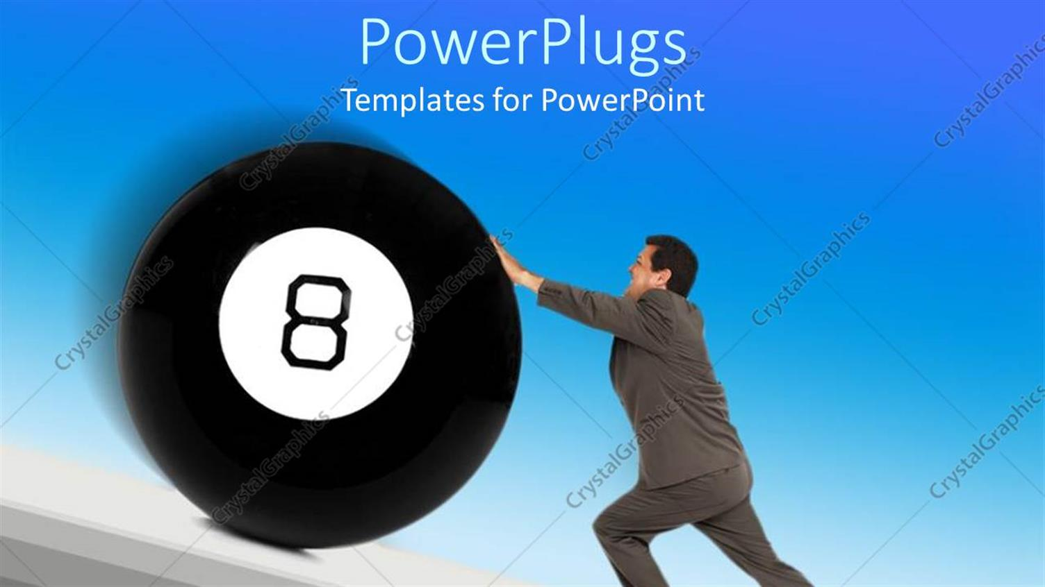 PowerPoint Template Displaying a Professional Holding the Eight Ball with Bluish Background