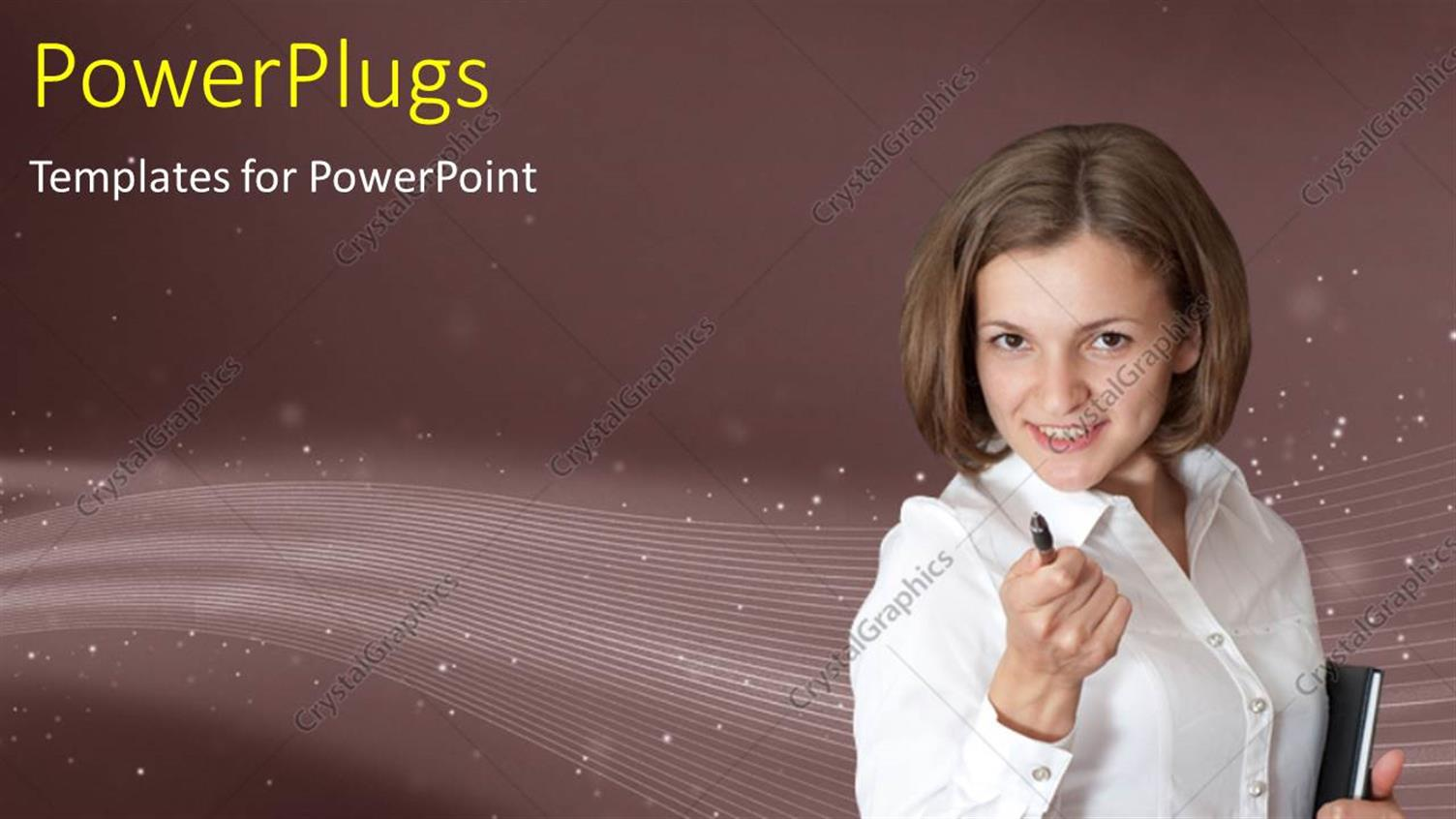 PowerPoint Template Displaying a Professional with a Pen and Stardust in Background