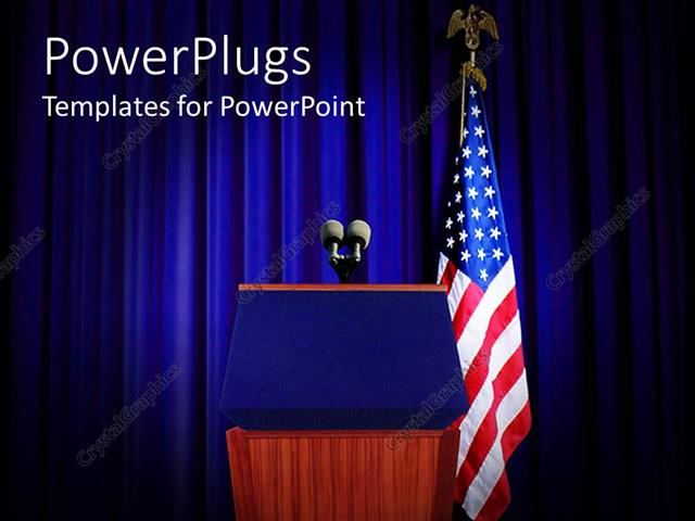 PowerPoint Template Displaying Pulpit Set for Press Conference with Blue Curtain Background
