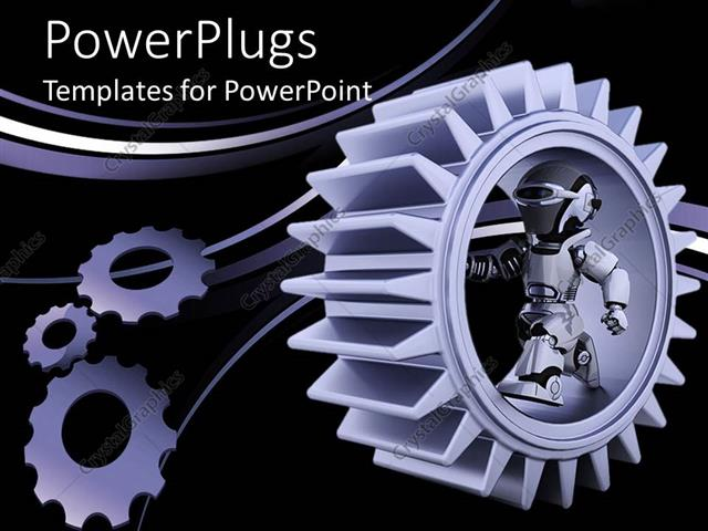 Powerpoint template purple gear mechanism with robot and bended powerpoint template displaying purple gear mechanism with robot and bended lines on black background toneelgroepblik Images