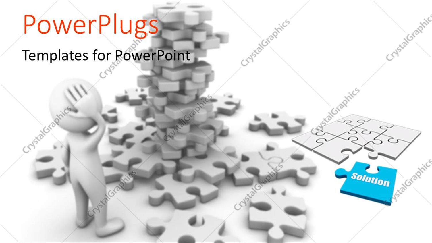 PowerPoint Template: a number of puzzle pieces with a confused ...