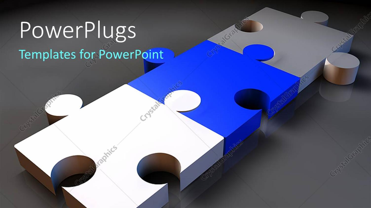PowerPoint Template Displaying a Number of Puzzle Pieces with Greyish Background