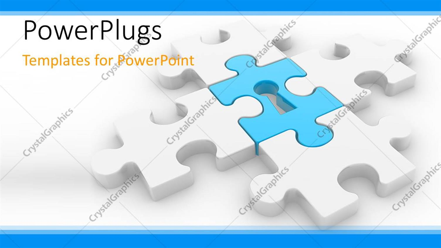 PowerPoint Template Displaying Puzzle Synced Together with Keyhole in Center and White Color