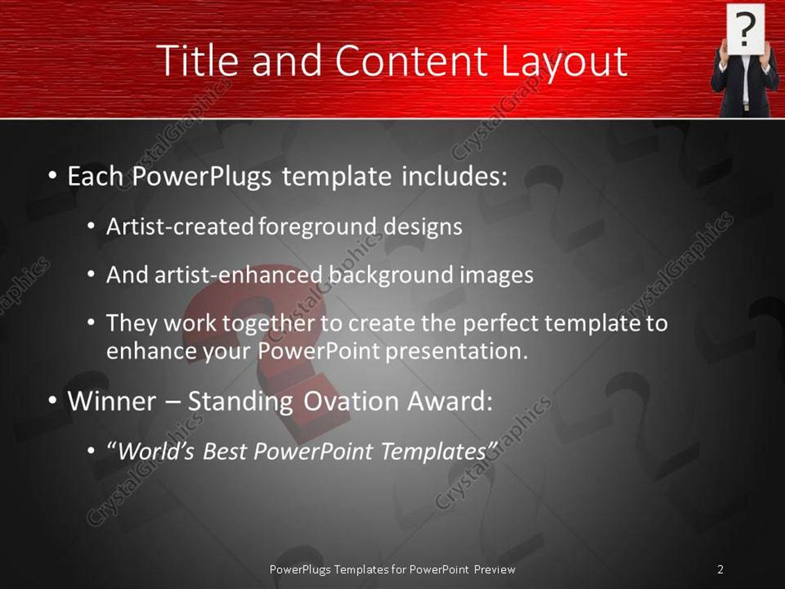 PowerPoint Template: Question marks in red white and back, business ...
