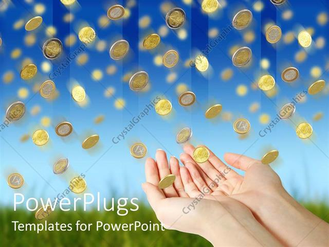 powerpoint template rain of golden coin falling down from blue sky