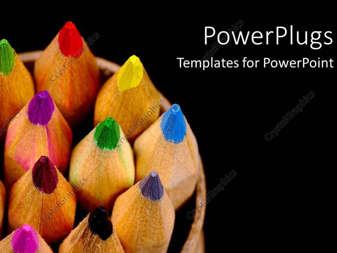 PowerPoint Template Displaying Rainbow of Colored Pencils on Black Background