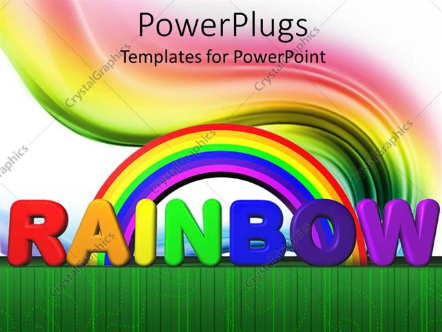 powerpoint template rainbow with text lettering colored swirl