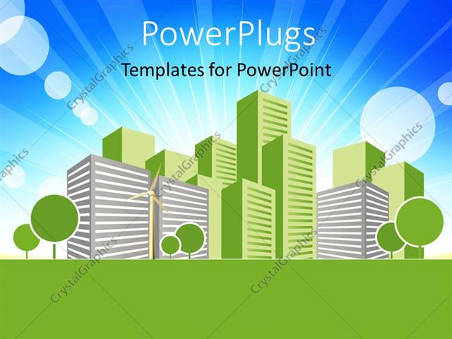 Powerpoint template real estate concept vector art design with powerpoint template displaying real estate concept vector art design with building in green and blue sky in toneelgroepblik Image collections