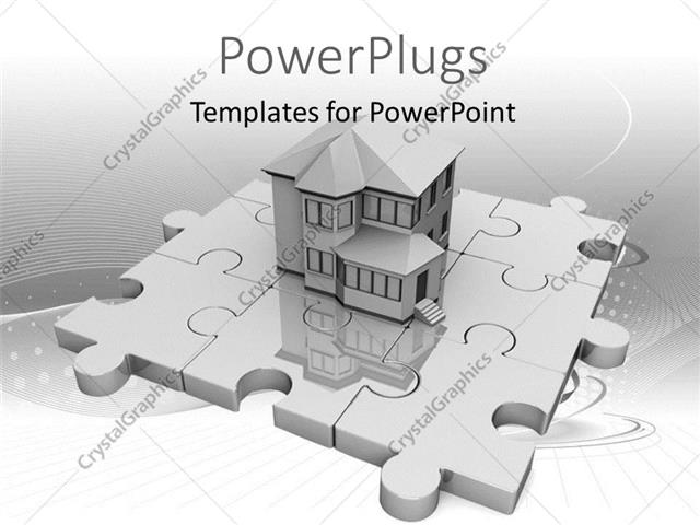 Powerpoint Template Real Estate House Standing On Jigsaw Puzzle