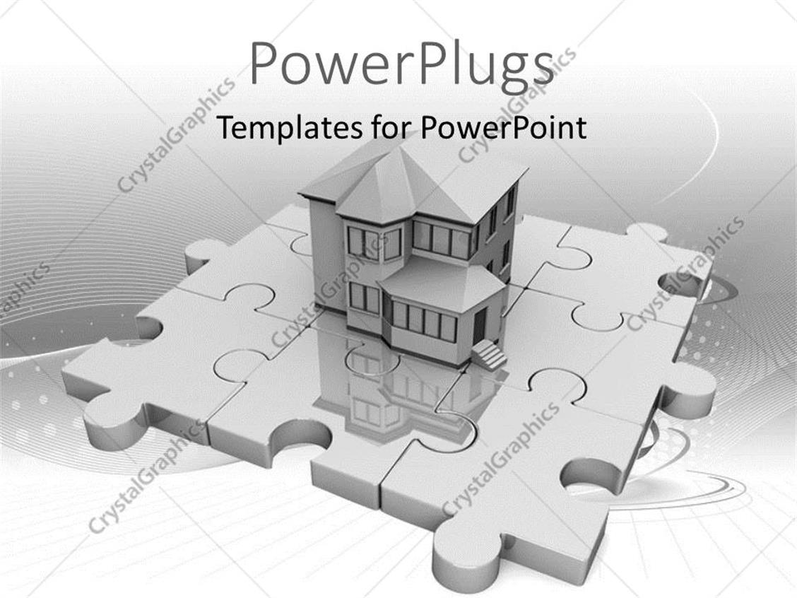 PowerPoint Template: Real estate house standing on jigsaw puzzle ...