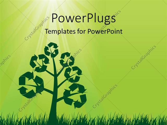 Powerpoint template recycle symbols on a tree with sun shining from powerpoint template displaying recycle symbols on a tree with sun shining from top with green color toneelgroepblik Gallery