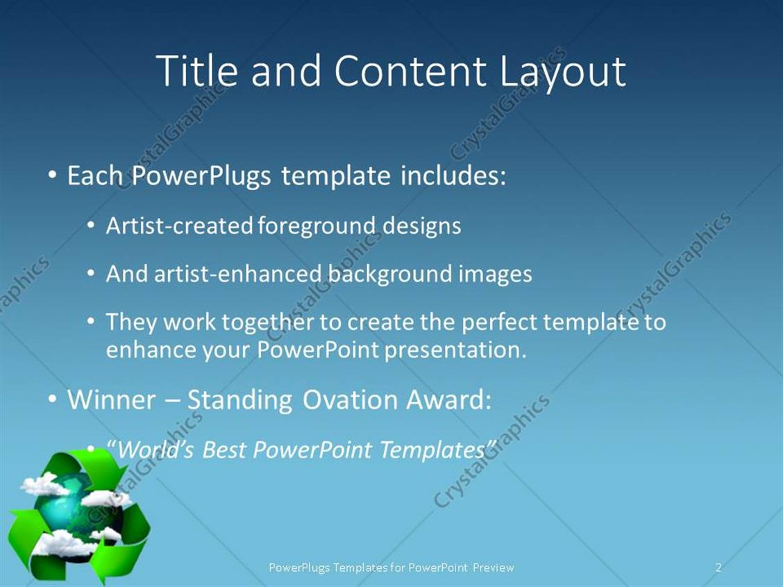 Powerpoint template a recycling sign with a globe 7401 powerpoint products templates secure toneelgroepblik Gallery