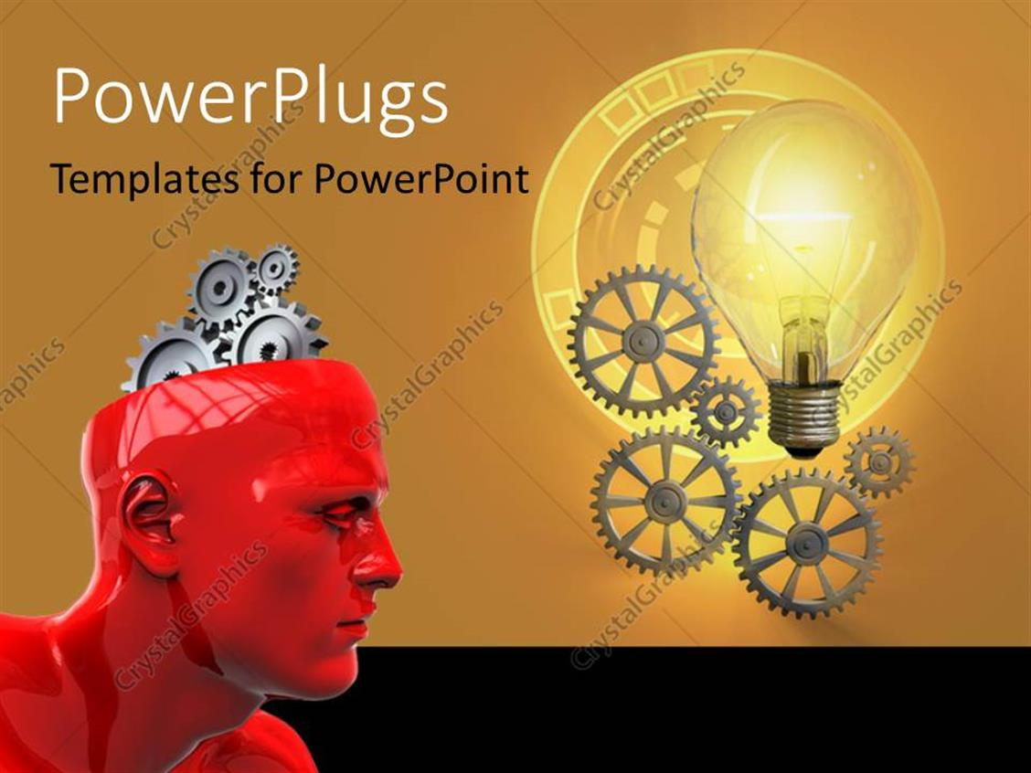 PowerPoint Template Displaying a Red 3D Character with Gears for a Brain