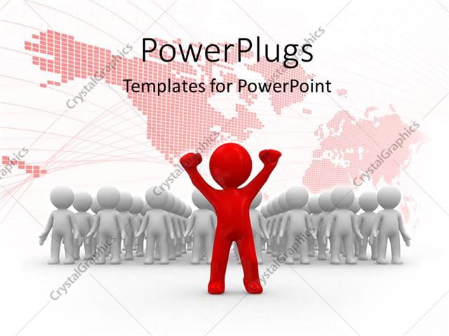 Powerpoint Template A Red 3d Character Leading Other White