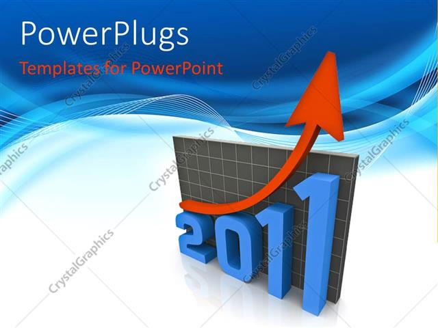 PowerPoint Template Displaying Red Arrow Moving Upwards Over the the Year 2011 Business Graph with Blue Waves