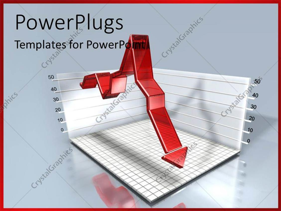 PowerPoint Template Displaying Red Arrow Over 3D Financial Chart with Grid Lines
