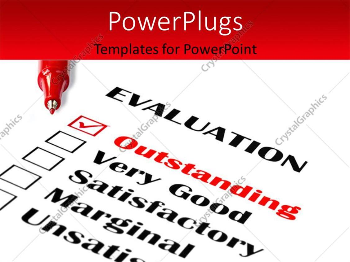 PowerPoint Template Displaying Red Ball Point Pens Over Evaluation Card withOutstandingTicked