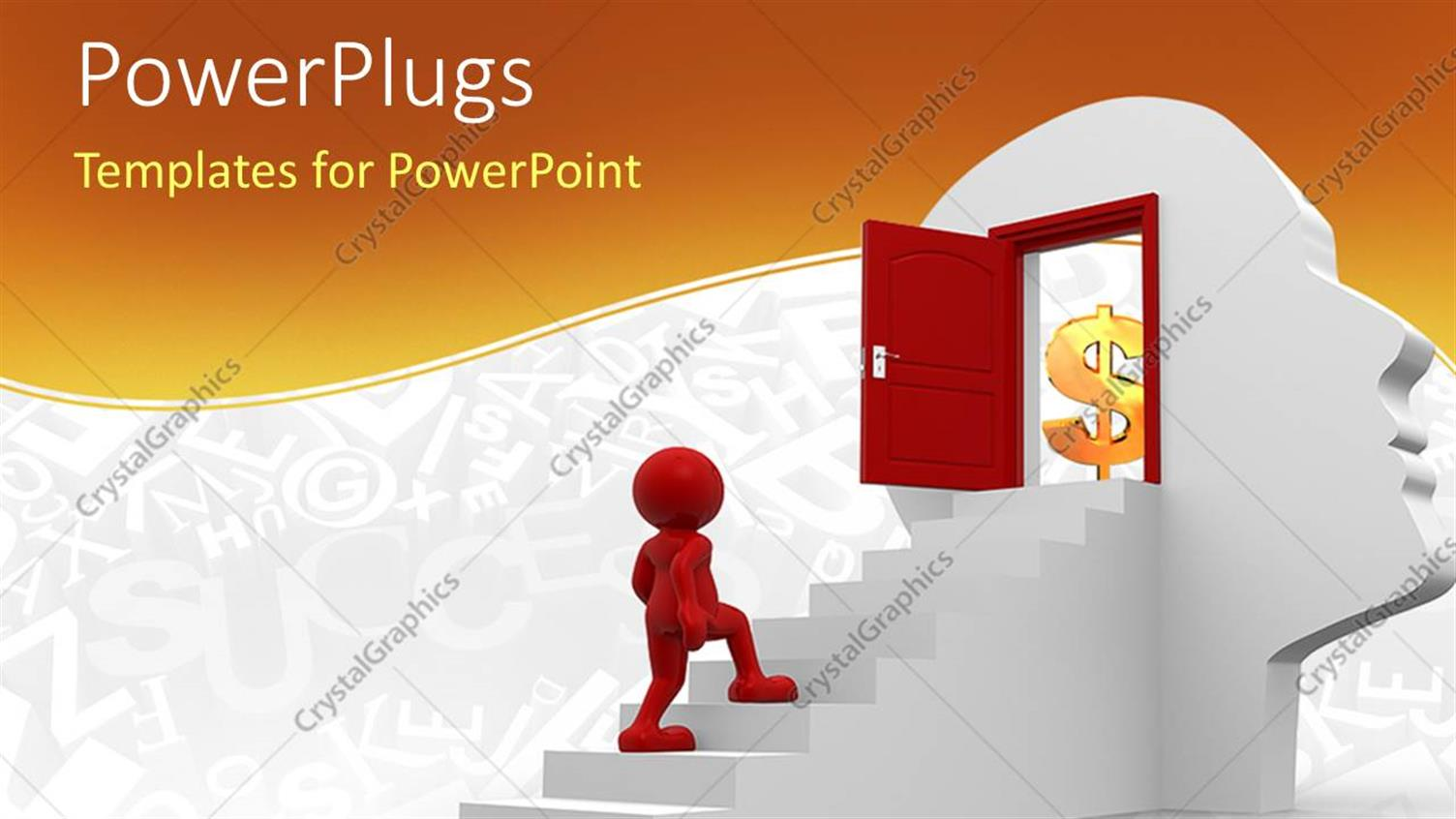 PowerPoint Template Displaying Red Character Climbing White Steps into Red Door on Human Head Figure