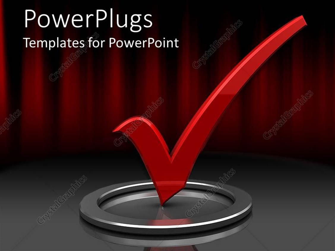 PowerPoint Template Displaying Red Check Mark in Silver Circle with Red and Black Background