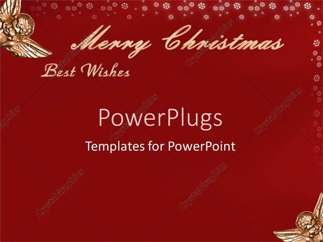 Powerpoint Template Red Christmas Card Written Merry Christmas And