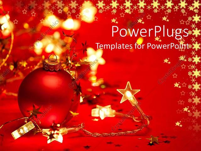 PowerPoint Template: Red Christmas Tree Ornament With Star