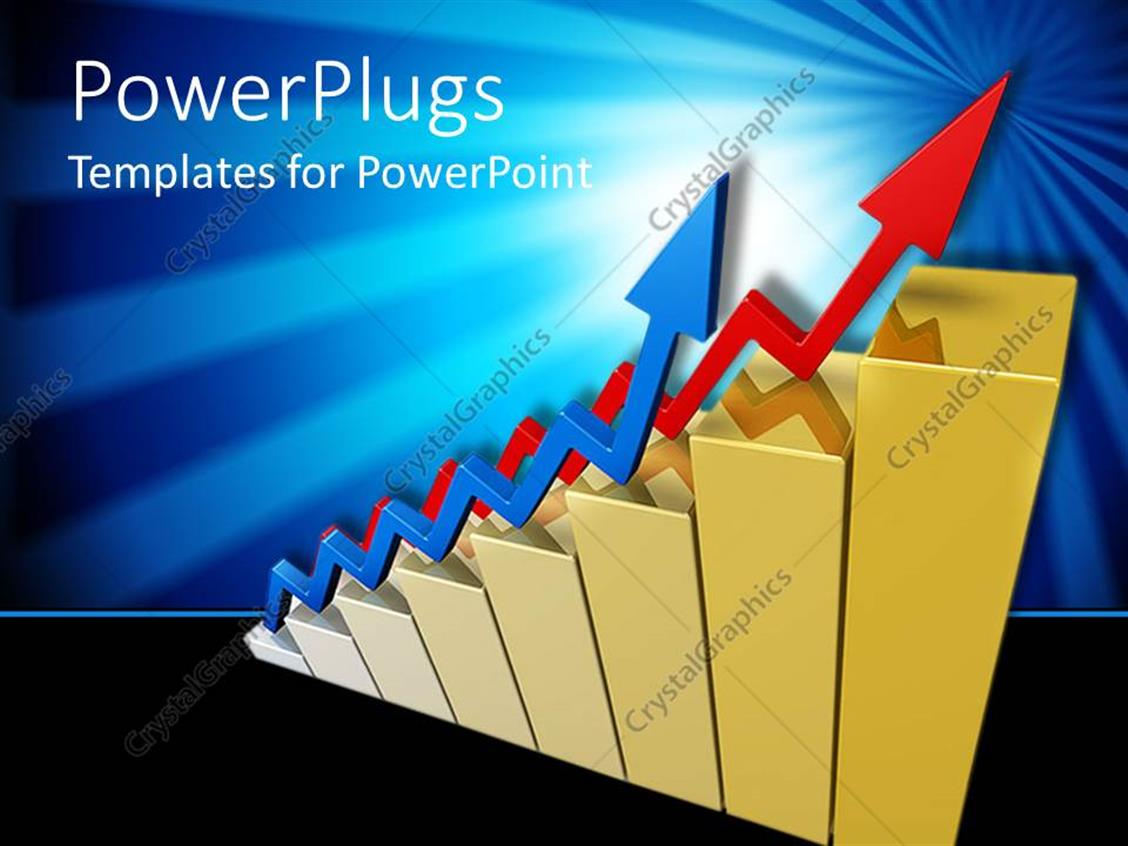 PowerPoint Template Displaying Red Colored Gold Bars with Two Zigzag Blue and Red Arrows