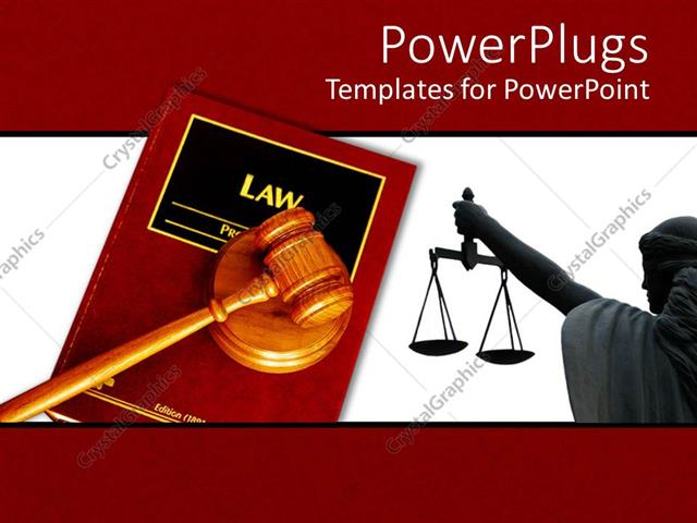 PowerPoint Template Displaying a Red Colored Law Book with a Brown Gavel