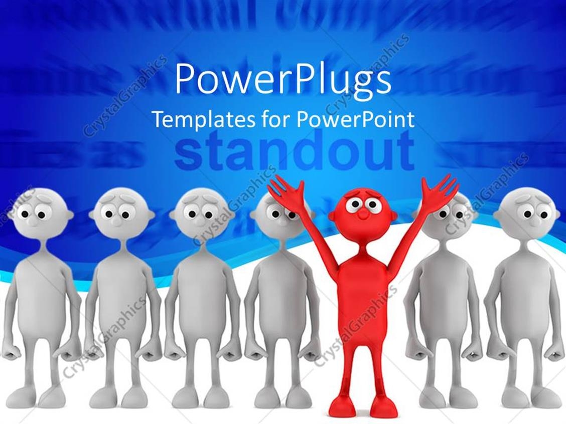 PowerPoint Template Displaying Red Colored Man with Hands Raised Stands Out of Crowd