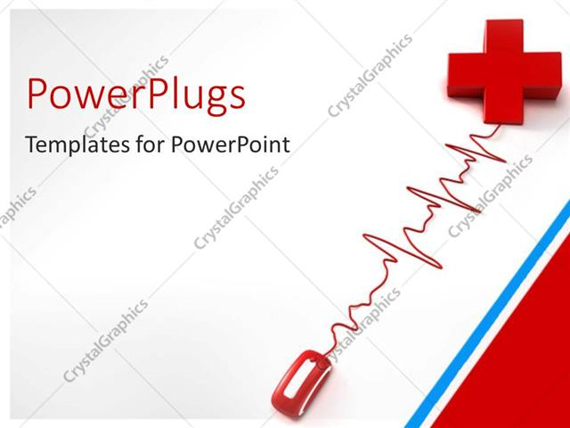 Powerpoint Template Red Computer Mouse Connecting Red Cross With