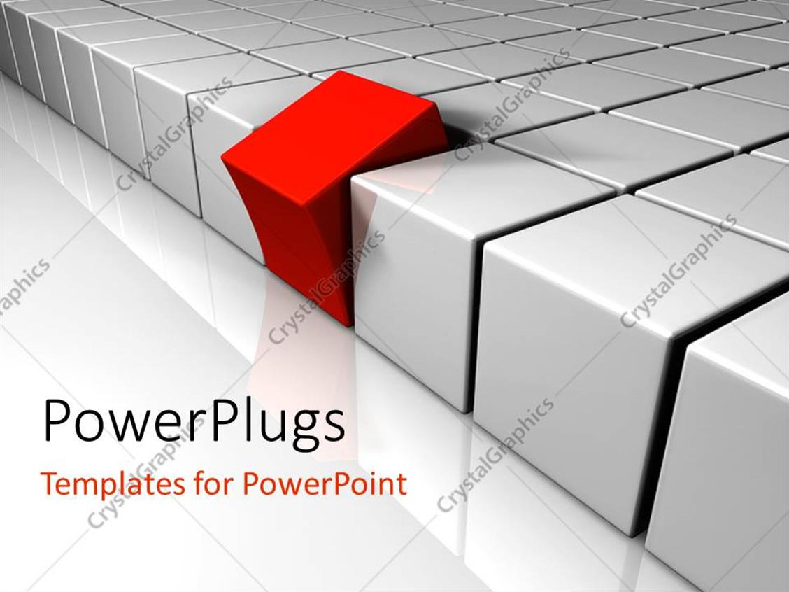 PowerPoint Template Displaying Red Cube Tilted Away from Rows of White Blocks