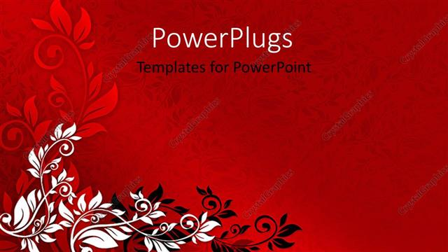 Powerpoint Template Red Floral Background With Black And