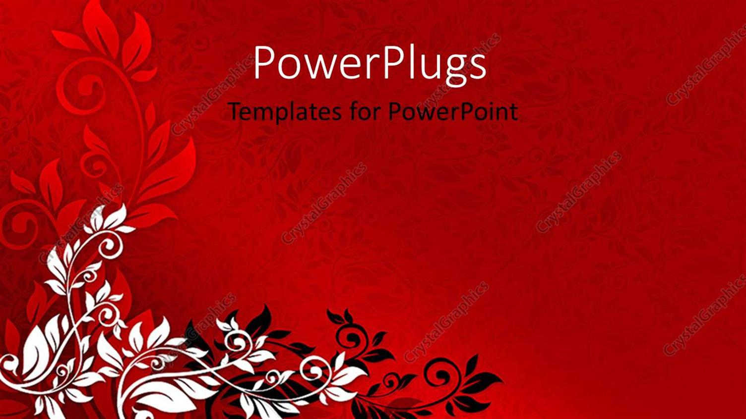 Powerpoint Template Red Floral Background With Black And White