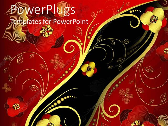 PowerPoint Template: Red, gold, and black Oriental style floral ...