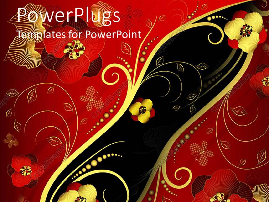 PowerPoint Template Displaying Red, Gold, and Black Oriental Style Floral Pattern