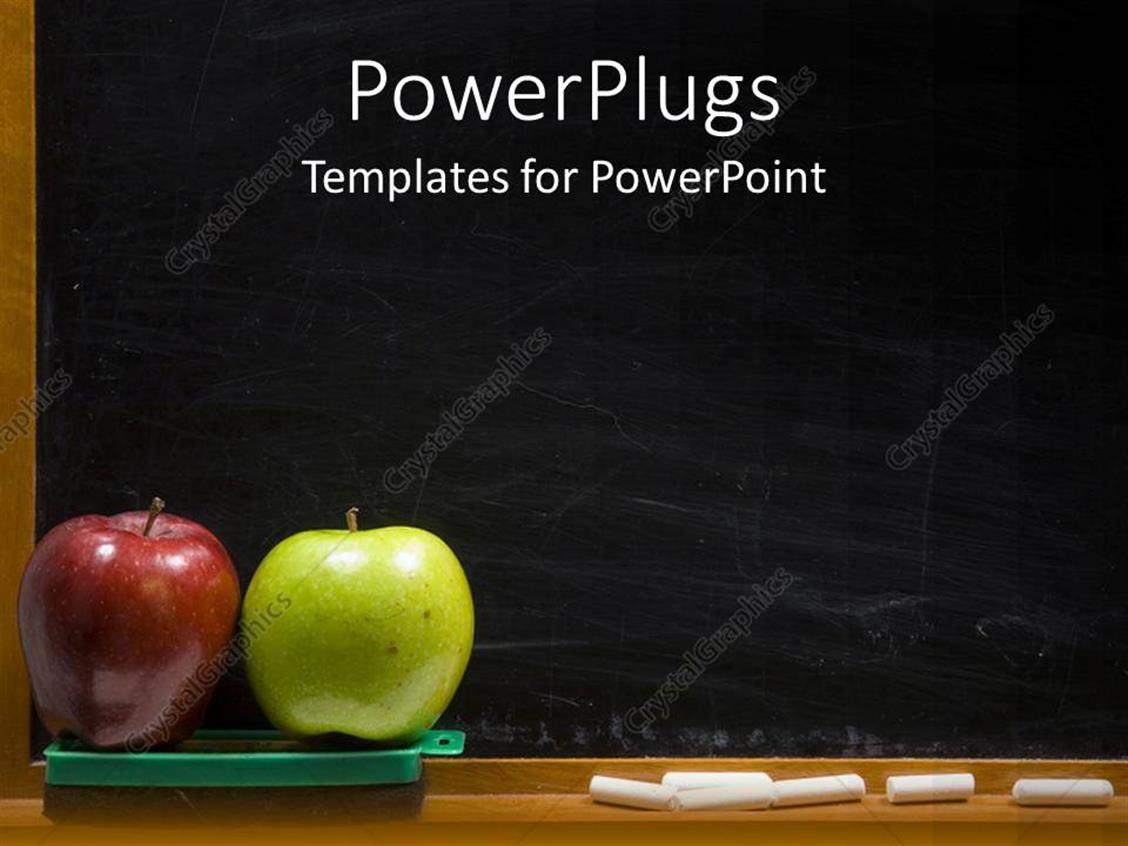Powerpoint Template Red And Green Apples For Teacher With Black