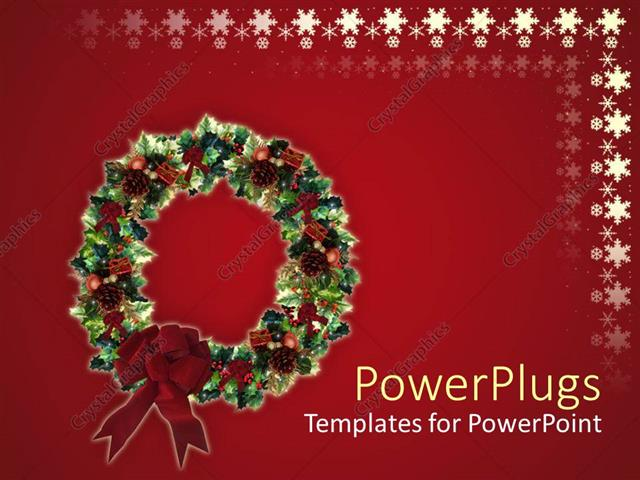 Powerpoint Template Red Holiday Snowflake Background With Christmas