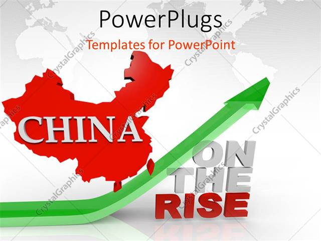 Powerpoint Template Red Map Of China Above Green Arrow And Words On
