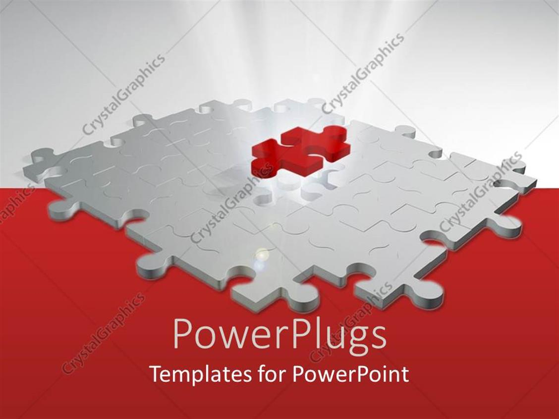 PowerPoint Template: red puzzle piece on top of white puzzle, white ...