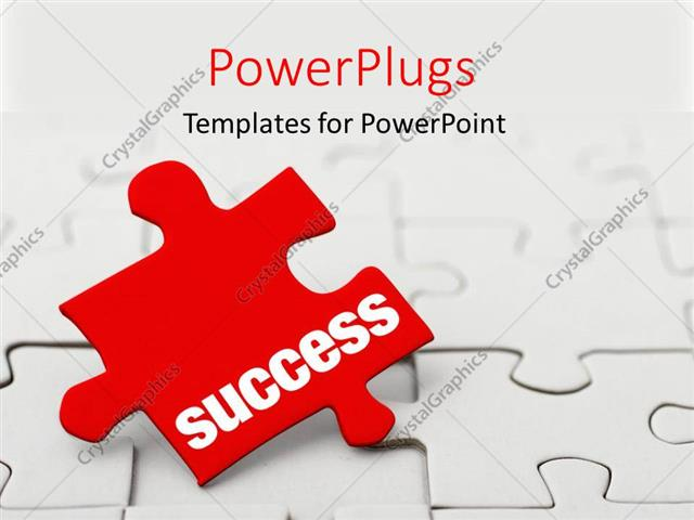 PowerPoint Template: Red puzzle piece with word Success next to ...