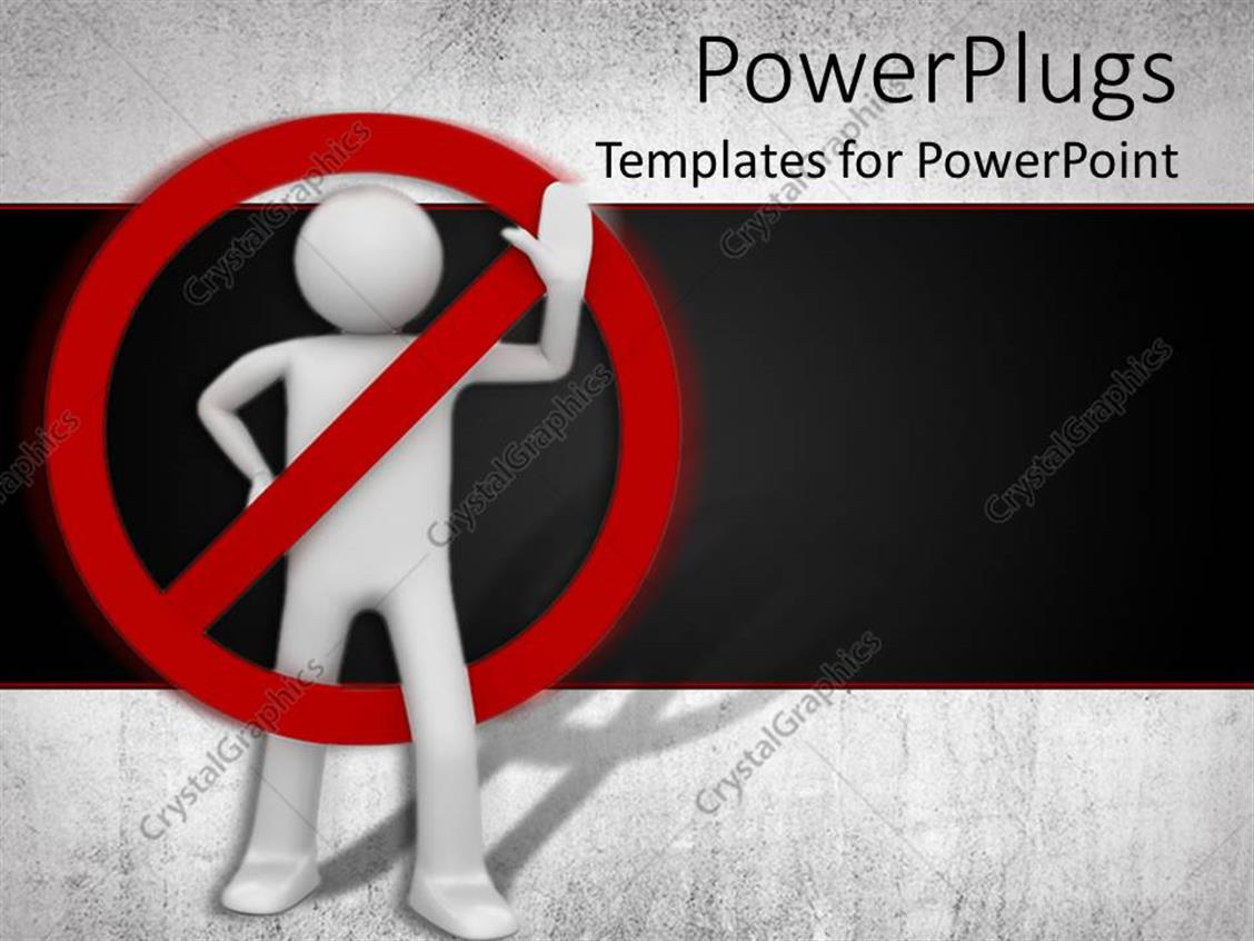 PowerPoint Template Displaying Red no Sign on White Waving Figure Against Black Background, Forbidden, Separate