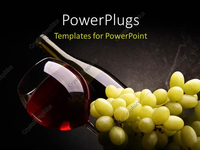 Powerpoint template red wine in bottle and glass with a bunch of powerpoint template displaying red wine in bottle and glass with a bunch of grapes on dark background toneelgroepblik Images