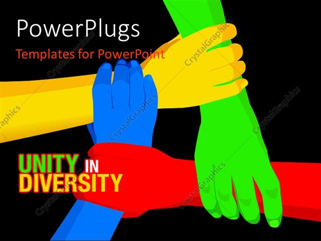 Powerpoint Template Red Yellow Blue Green Linked Hands On Black
