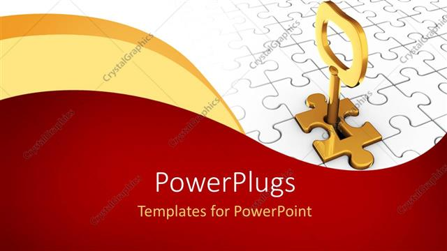 PowerPoint Template Displaying Red and Yellow Curves in Front and Jigsaw Puzzle Piece with a Keyhole